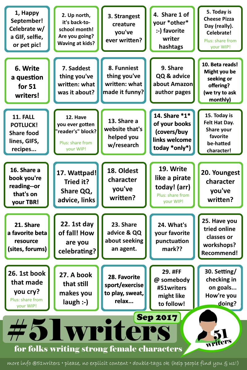 Daily writing prompts for September from#51writers